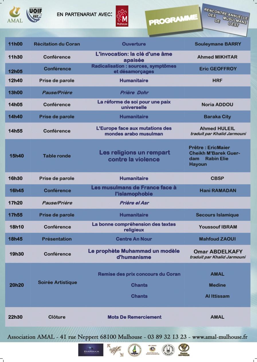 Rencontre annuelle des musulmans du sud 2016 programme